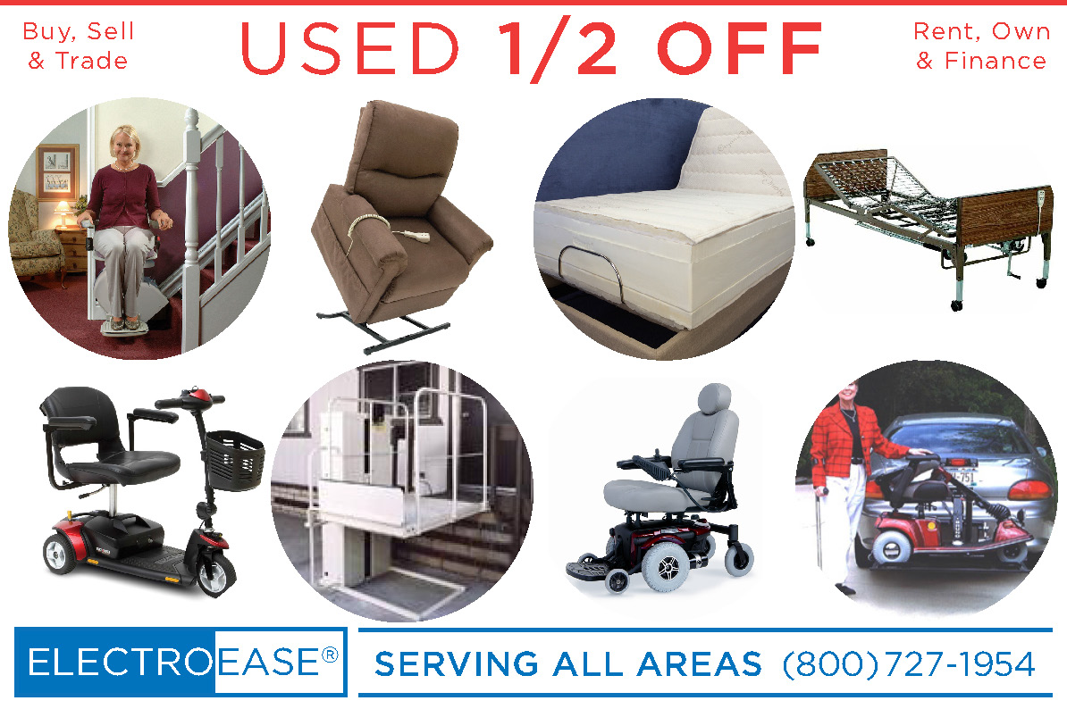 used electric adjustable  -  hospital beds, recycled lift chair  -  stair Lift, second mobility scooters  -  pride Jazzy  powerchair wheel chairs seconds