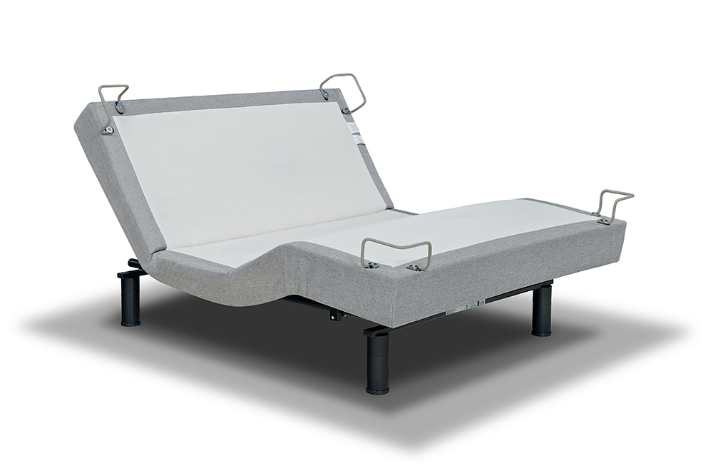 The 5D adjustable mattress foundation is instant comfort at your fingertips. Upholstered in light gray fabric, the 5D includes pre-set and programmable positions, massage and unlimited adjustability.